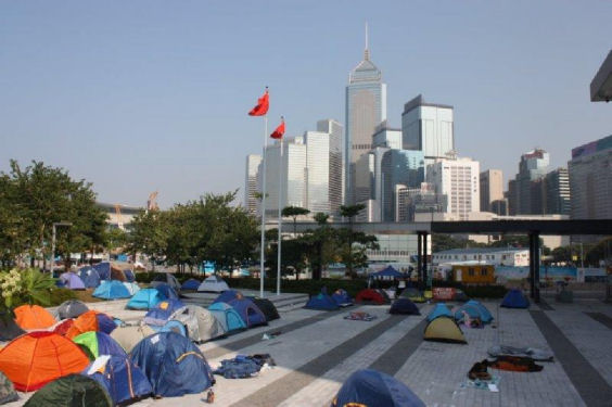 Protesters in their tents Sept - Dec 2014